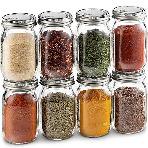 Ball Spice Jars; Mini Mason Jars 4 oz. Set of 8 Small Glass Storage Jars With Lids - For Herbs & Spices, Jelly, Honey Jars, (Not Canning) Favors, DIY & Crafts - Bundled With SEWANTA 28 Spice Labels
