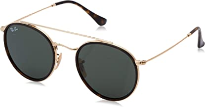 RAY-BAN RB3647N Round Double Bridge Sunglasses, Gold/Green, 51 mm