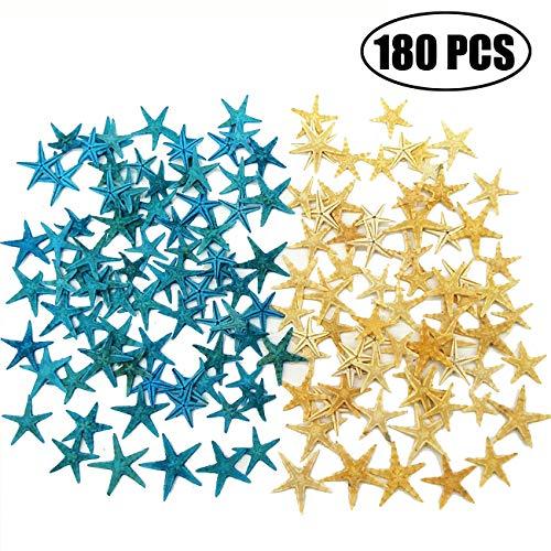TIHOOD 180PCS Blue and Yellow Small Starfish Star Sea Shell Beach Craft 0.4'-1.2'