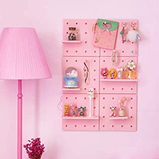 DOFYWARE Wall Hanging Decorative Mounting Pegboard, Plastic DIY Wall Control Pegboard Storage Organizer Shelves Holder for Makeup Entryway Hat Rack Mug Key Toy Picture Kitchen Bedroom Living Room