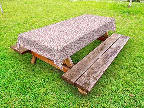 ABAKUHAUS Luipaard Tafelkleed voor Buitengebruik, Exotic Animal Skin Print, Decoratief Wasbaar Tafelkleed voor Picknicktafel, 58 x 120 cm, Pink Warm Taupe