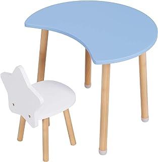 Homfa Ensemble Table et Chaise Set 1 Table Petit Bureau et Chaise Mobilier en Bois 60x60x50cm (Bleu)