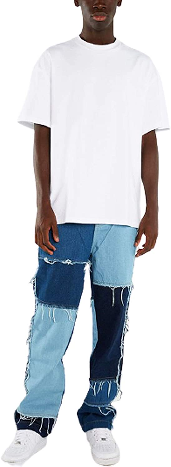 SUITLIM Men Patchwork Color Block Japan Free shipping / New Maker New Ripped Loose Casual Jeans Fit