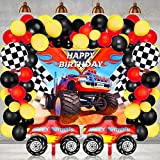 75 Pieces Monster Truck Party Supplies Monster Truck Balloons Decoration Set Including 1 Monster Truck Themed Backdrop 2 Monster Truck Balloons 2 Mosaic Race Foil Balloons and 70 Multicolor Balloons