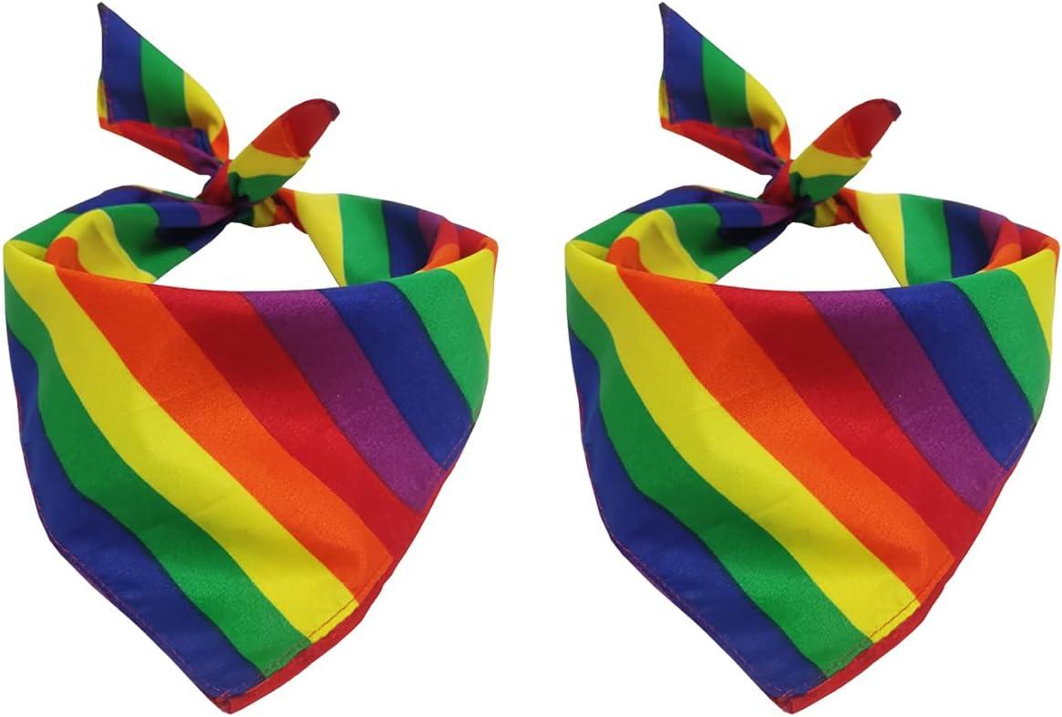 Tinsow Houston Mall 2 Pack Gay Pride Handkerchiefs Cotton Credence Rainbow Bandanas Pa