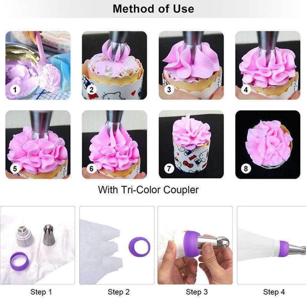 Set of 27 pcs Cake Piping Decorating Supplies Kits Icing Tips ...