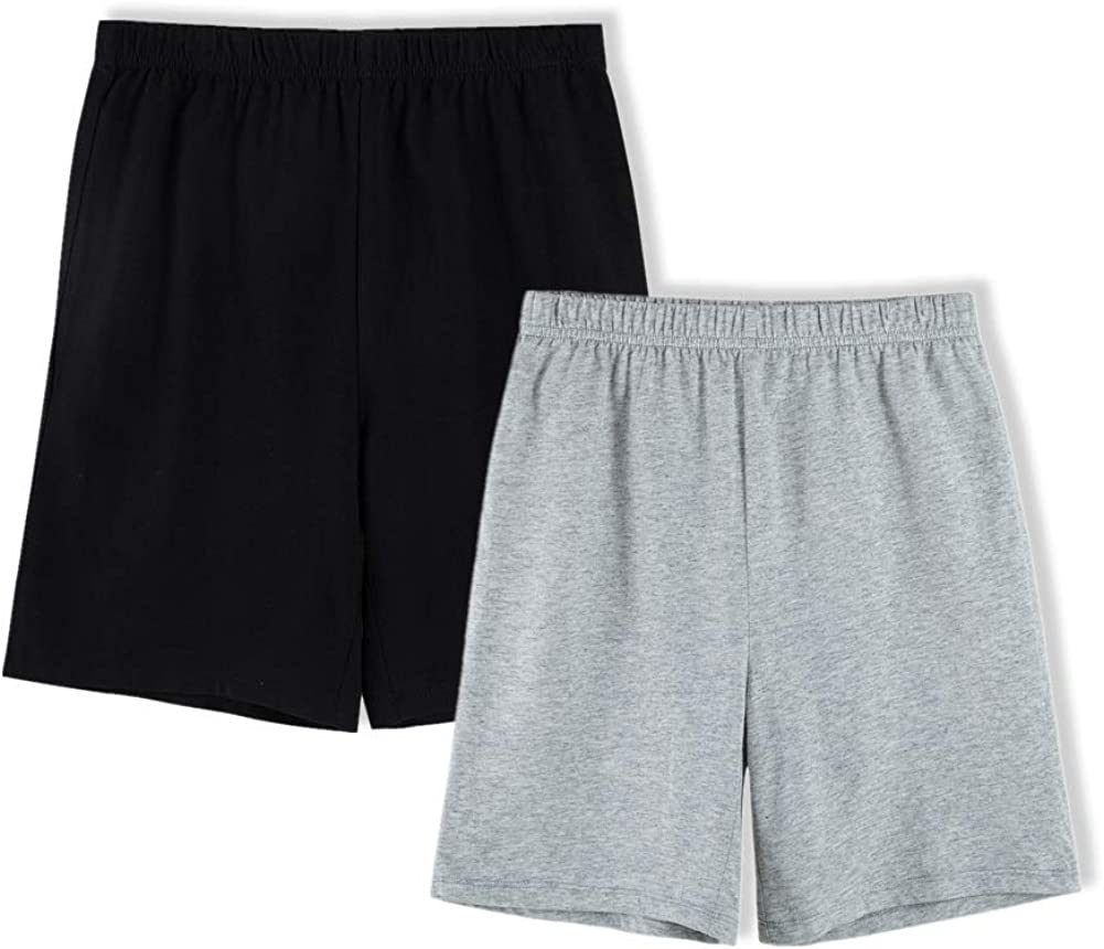 UNACOO Unisex Kids 2-Pack 100% Cotton Shorts for Boys and Girls (Age 3-12 Years)