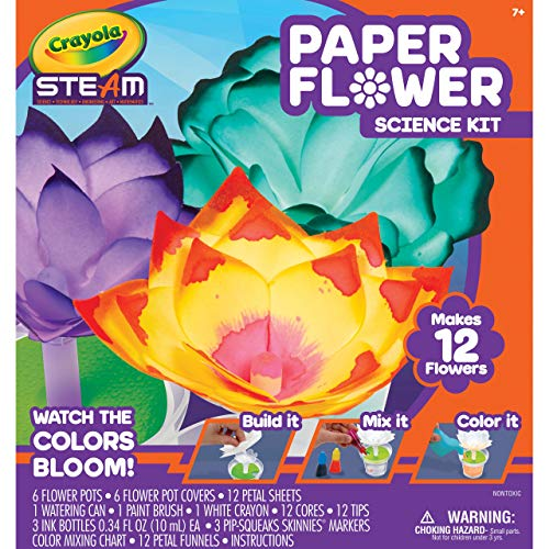 Crayola Paper Flower Science Kit, Color Changing Flowers, Gift for Kids, Ages 7, 8, 9, 10