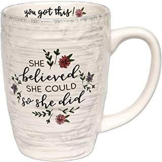 Brownlow Gifts Simple Inspirations Ceramic Coffee Mug, She Believed She Could