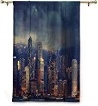 Andrea Sam Blackout Curtain Tie Up Shade Window Fabric,Hong Kong Cityscape in Stormy Weather Dark Cloudy Sky Waterfront Port Dramatic View,Navy Gold,35