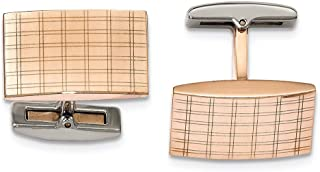 Lex & Lu Chisel Stainless Steel Polished Rose IP Plated Laser Design Cuff Links