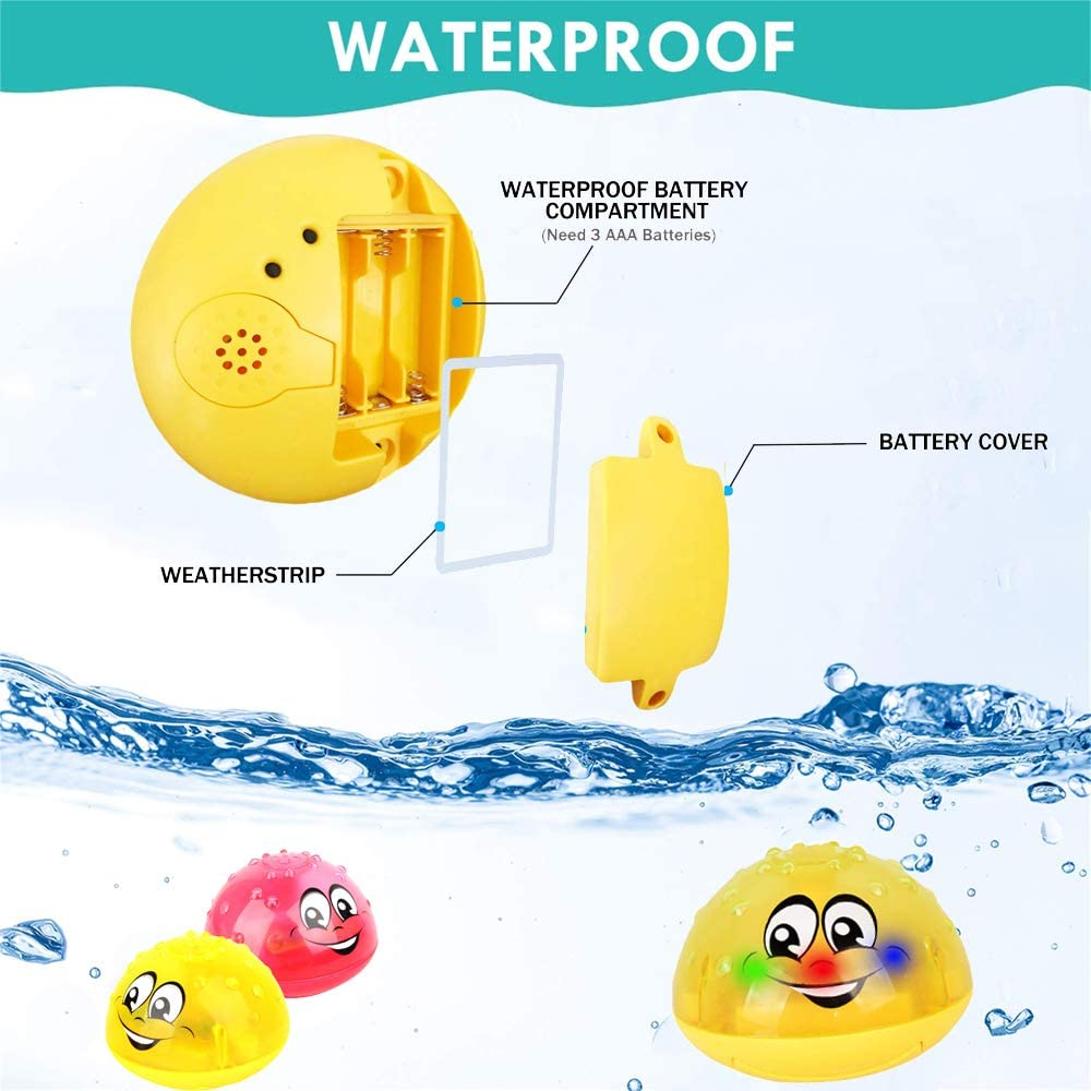 Hooku Baby Bath Toys Water Spray Toys LED Light Up Float Toys Bathtub Shower Pool Bathroom Toy for Toddlers Kids Boys Girls
