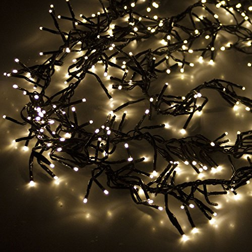 1512 LED Cluster Lichterkette 14m Warmweiß mit 8 Lichteffekten Innen und Aussen