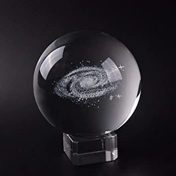 XinTX 3 Inch Galaxy Crystal Ball,3D Miniature Planets Laser Engraved Ball Paperweight Fengshui Sphere Home Decor Gift with Clear Base(Gift Box Package) (3 Inch, Galaxy Ball)