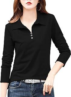 [ジョプリンアンドコー] 5カラー S~XL 長袖ポロシャツ フェイクボタン 襟付き ビジネス スポーツウェア 通年 レディース