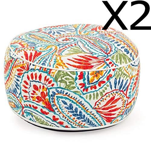 PEGANE Lot de 2 poufs d'exterieurs gonflables Multicolore - Dim : Ø 53 x H 23 cm