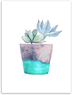 Watercolor Green Plant Flowers Cactus Posters Succulent Nordic Style Garden Wall Art Pictures Living Room Decor,21x30cm No Frame,6