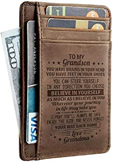 To My Grandson Wallet RFID Blocking Leather Card Wallet Holder Engraved With a Loving Message - Perfect I Love My Grandson Gifts