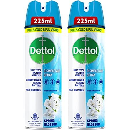Dettol Disinfectant Sanitizer Spray Bottle (Pack of 2) | Kills 99.9% Germs & Viruses | Germ Kill on Hard and Soft Surfaces (Spring Blossom , 225ml)