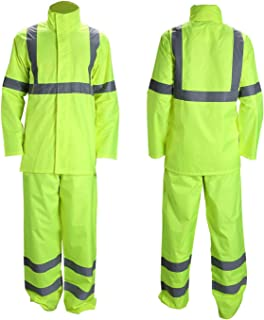 Vendace Class 3 High Visibility Rain Suit with Collapsible Hood Lime Reflective Safety Jacket & Trouser