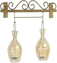 "Deco 79 Metal Glass Wall Candle Holder 20"" W, 19"" H - 24181, 24181, 20"" x 19"""