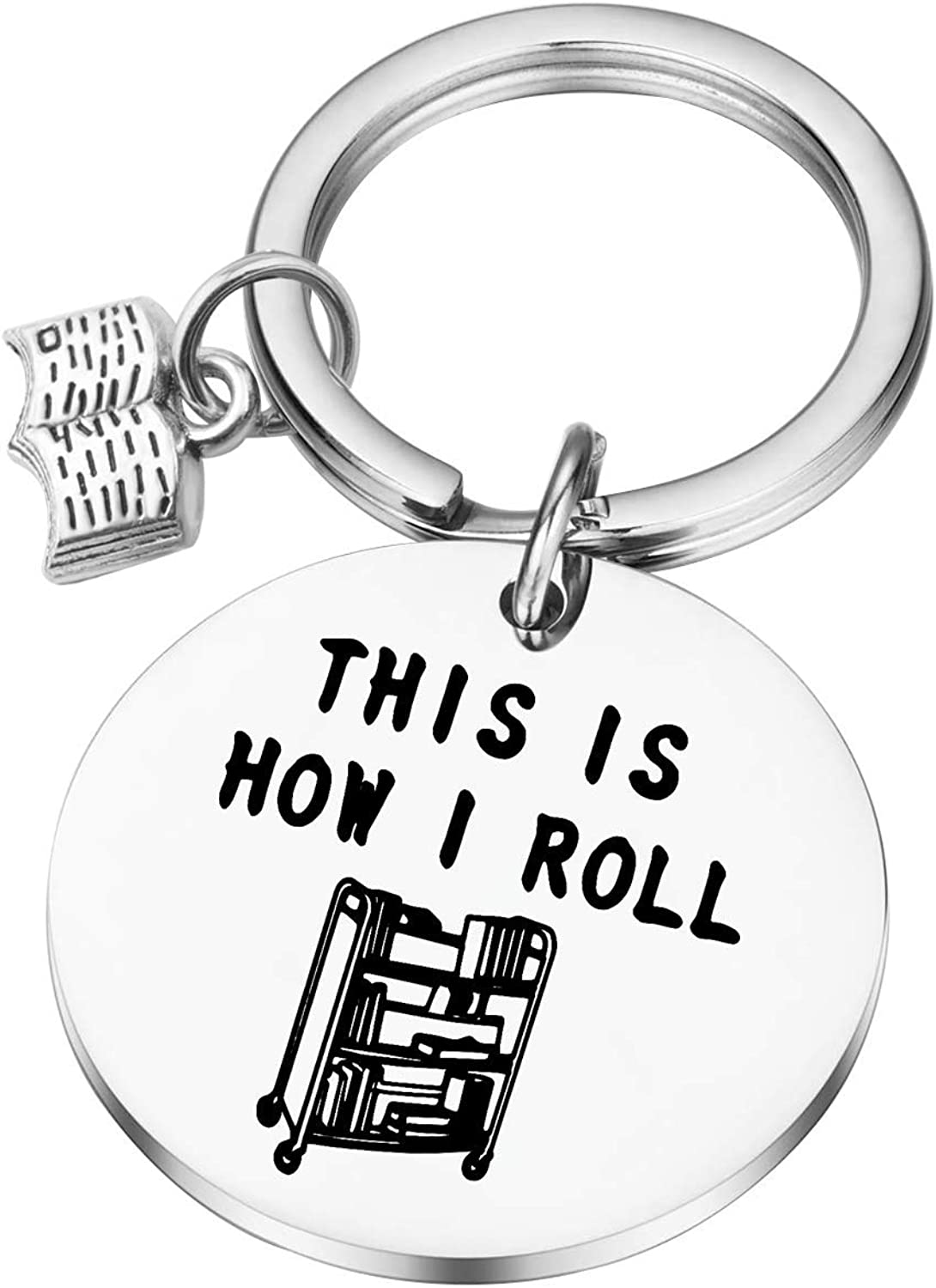 Low price Lywjyb Birdgot Librarian Gifts Import Bookworm Keychain is This R I How