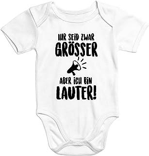 MoonWorks Kurzarm Baby Body Ich Bin lauter Bio Baumwolle lustig Spruch Onesie Strampler Babybekleidung
