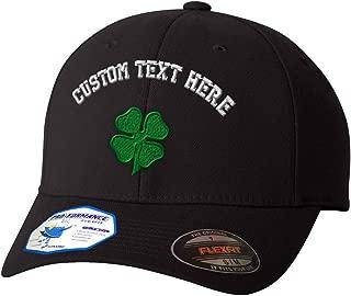 Custom Flexfit Baseball Cap Four Leaf Clover Embroidery Design Polyester Hat