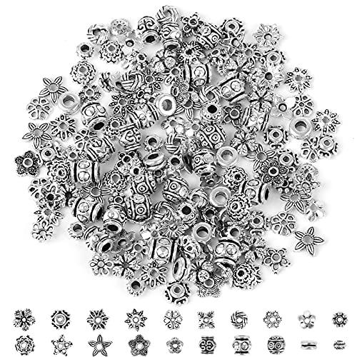 Chudian 160 Pezzi Argento Perline Accessori,Perline Tibetano Argento Fai da Te Perline Distanziatori in Lega Perline Antico Argento per Braccialetti Collane Orecchini(20 Stili)