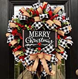 TGone Lroxiy Christmas Buffalo Check Wreath Holiday Decor Outdoor Fall Decorations, Artificial Spruce Burlap Ribbon Garland