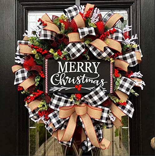TGone Lroxiy Christmas Buffalo Check Wreath Holiday Decor Outdoor Fall Decorations, Artificial Spruce Burlap Ribbon Garland