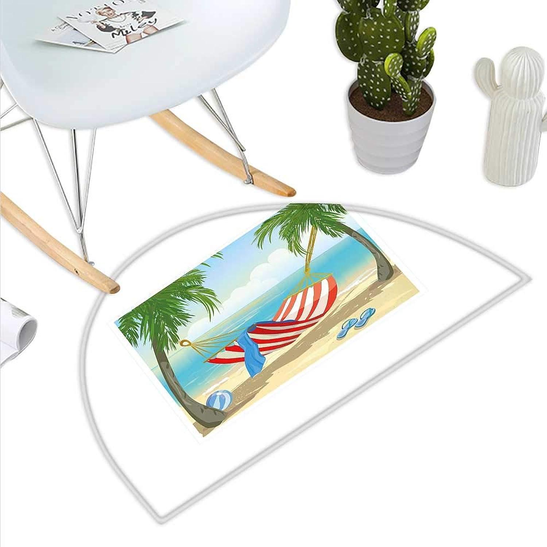 Beach Semicircle Doormat Hammock Between Palm Trees on Beach Cartoon Style Illustration Digital Composition Halfmoon doormats H 43.3  xD 64.9  Multicolor
