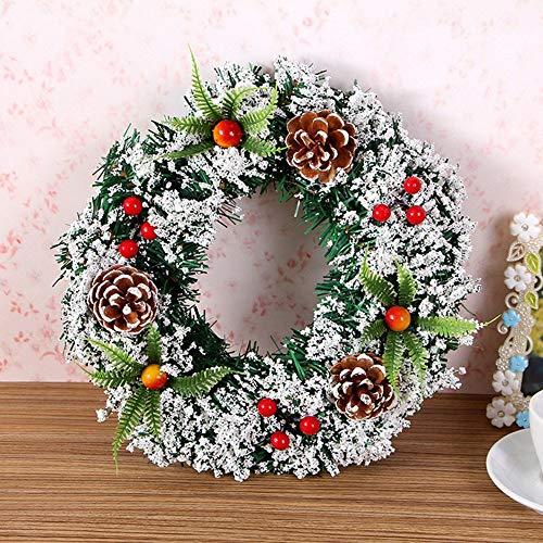QIFENYEDENG Corona de Cono de Pino Corona de Navidad, Puerta Adorno para Colgar en la Pared Guirnalda Redonda de ratán, decoración Flor Artificial Flor Falsa, 25cm