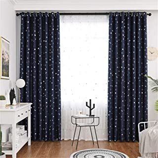 1 Panel Children Blackout Curtains Eyelet Kid Curtain with Star and Moon Pattern for Home Decor Nursery, Multiple Colour,N...
