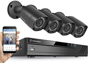 Amcrest HD 1080P-Lite 4CH Video Security System w/Four 1.0 Megapixel IP67 Outdoor Bullet Cameras, 65ft Night Vision, 1TB HDD, (AMDV7214-4B-B) (Renewed)
