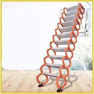 Aluminum Alloy Household Retractable Ladder for Loft Home Folding Step Ladder Attic pulldown Ladder Hinge (Vertical Height 2.4 m)