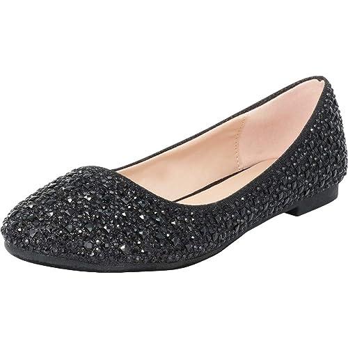5dc3fa12af Cambridge Select Women's Round Toe Crystal Rhinestone Glitter Ballet Flat