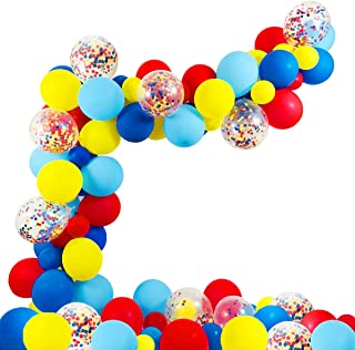 Circus Party Supplies Balloons Arch Kit - 80 Pack Latex Balloons Confetti Balloon Garland Strip Set for Baby Shower, Paw Birthday Party, Carnival Circus Party Decorations