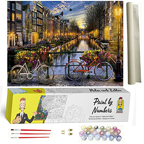 Malen nach Zahlen Landschaft Amsterdam - DIY Malen nach Zahlen für Erwachsene - Set für Anfänger inklusive vorgedruckter Leinwand, 3 Pinseln und bunten Acrylfarben
