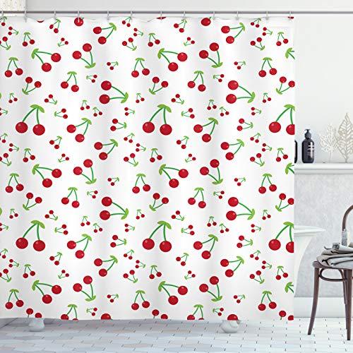 ABAKUHAUS Kirsche Duschvorhang, Einfaches Sommer Frucht-Muster, Moderner Digitaldruck mit 12 Haken auf Stoff Wasser & Bakterie Resistent, 175x240 cm, Vermilion Lindgrün
