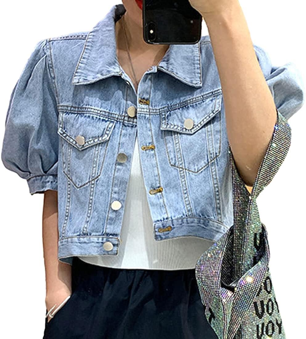 SeekMe Women's Puff Short Sleeve Cropped Jean Jacket Button Down Wash Denim Crop Coat