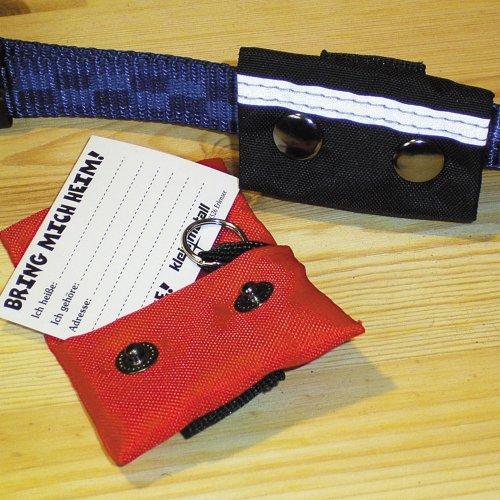 Kleinmetall Nylon Adresstasche in rot Für Hunde Hundehalsband Adressanhänger wasserfest