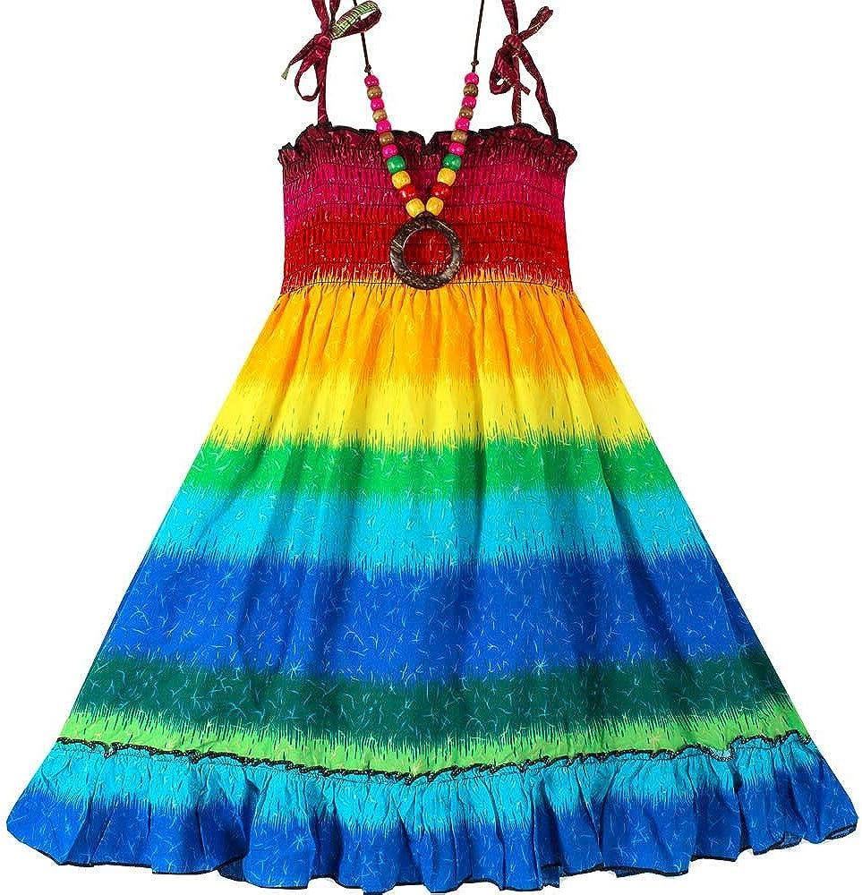 Girls Bohemian Dresses Floral Sleeveless Rainbow Beach Sundress with Necklace
