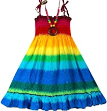 Girls Bohemian Dresses Floral Sleeveless Rainbow Beach Sundress with Necklace
