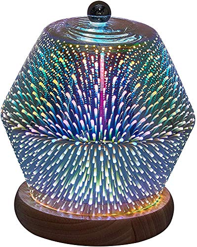 Yimodo Decorative Table Lamp Firework Alike, 3D Starburst Night Light with Wood Base, 4.9ft USB Powered, Glass LED Table Lamp, Bedside Modern Night Light for Bedroom/Bar/Wedding