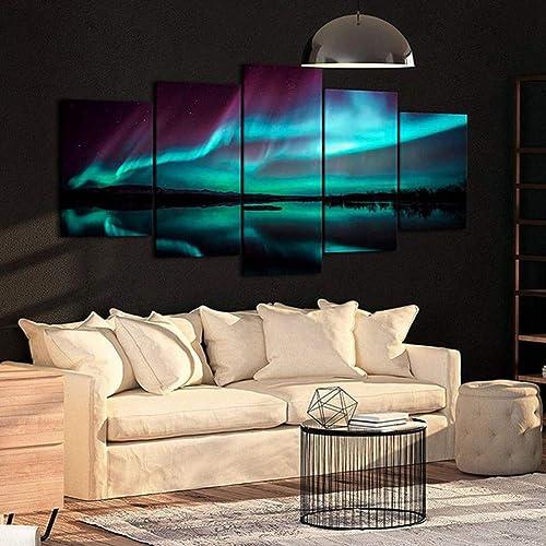 YHEGV Impresiones sobre Lienzo Pintura de la Lona para la Sala de Estar Decoración 5 Unidades Aurora Lake Pictures Impresiones Modulares Inicio Arte de la Parojo Borealis Noche Paisaje Cartel