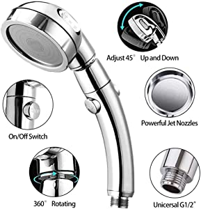 Handheld Shower Head with Hose and Holder, SAYGOGO High Pressure Shower Head with 3 Spray Settings and On/Off Switch Detachable Shower - (3-kit)