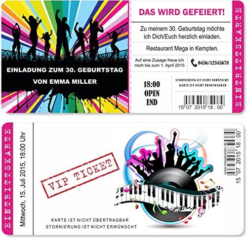 Einladungskarten zum Geburtstag als mit Abriss-Coupon, Eintrittskarte Party Ticket Lila 10 Stück