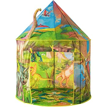 キッズテント 子供用おもちゃハウス 可愛いボールテントハウス Kids Tent 知育玩具 室内遊具 秘密基地 折り畳み式 簡単に使用 お誕生日 クリスマスのプレゼント おままごと 恐竜の世界 FOSONN (黄)