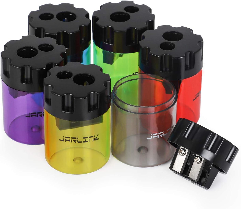 JARLINK 6 Pack Manual Pencil Colorful Holes Dual Shar Sharpener Dedication Our shop most popular